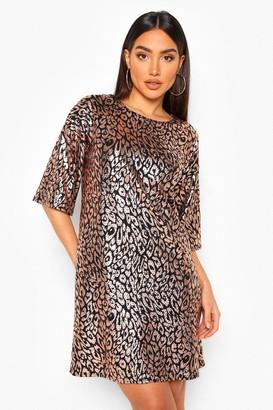 boohoo Leopard Sequin Shift Dress