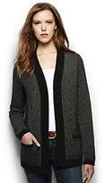 Lands' End Women's Petite Lofty Textured Open Cardigan Sweater-Black/White Canvas