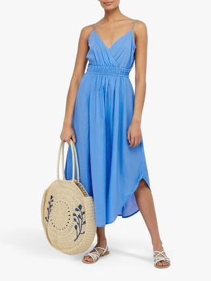 Monsoon Amber Hanky Hem Midi Dress, Blue
