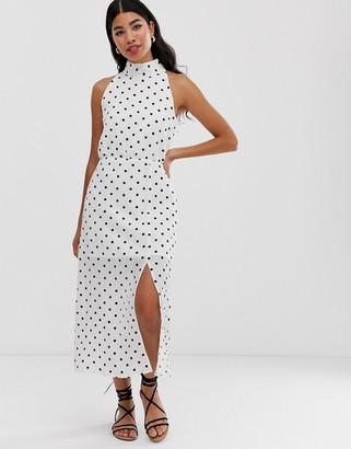 Glamorous high neck maxi dress in spot
