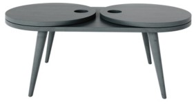 Handy Living Rhodes Modern Oval Expandable Wood Cocktail Table