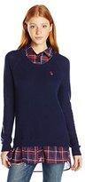 U.S. Polo Assn. Juniors Plaid 2fer Sweater Top