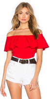Susana Monaco Ruffle Off Shoulder Top in Red. - size M (also in XS)