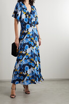 Thumbnail for your product : Lela Rose Floral-print Georgette Midi Dress - Blue