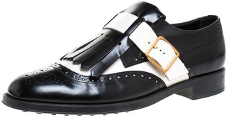 Tod's Black/White Leather Fringe Brogue Monk Strap Loafers Size 39