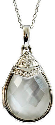 Mother of Pearl With You Lockets Ella Black and White Topaz (3/8 ct. t.w.) Photo Locket Necklace in Sterling Silver (Also Available in Quartz Doublet White Mother-Of-Pearl)
