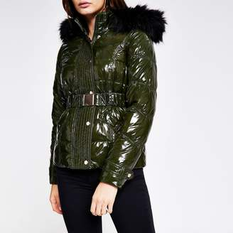 River Island Womens Khaki quilted faux fur hood fitted jacket
