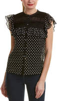 Rebecca Taylor Moon Dot Silk-Blend Embroidered Top