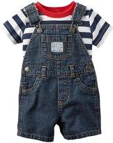 Carter's 2 Pc Shortall Set (Baby) - Denim - 3 Months