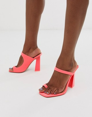 Barely There Asos Design ASOS DESIGN Hydrate toe loop neon heeled sandals-Pink