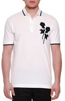 Dolce & Gabbana Embroidered-Rose Short-Sleeve Polo Shirt, White