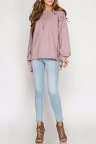 She + Sky Grommet Tie Sweatshirt