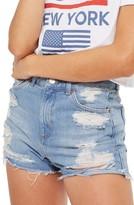 Topshop Petite Women's Ripped Longline Mom Shorts