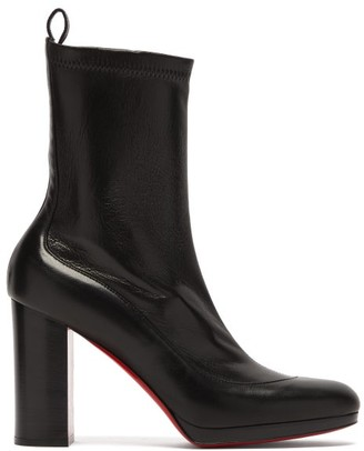 Christian Louboutin Contrevent 100 Bonded-leather Ankle Boots - Womens - Black
