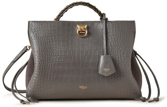 Mulberry Iris Charcoal Soft Printed Croc with Suede
