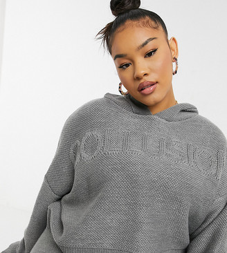 Collusion Plus knitted hoodie co-ord with embossed logo in grey