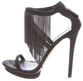 Brian Atwood Embossed Suede Platform Sandals