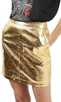 Topshop Women's Metallic Foil Miniskirt
