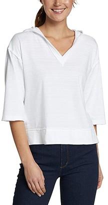 Eddie Bauer Adventure 3/4 Drop Shoulder Hoodie (White) Women's Clothing