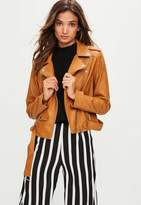 Missguided Brown Faux Leather Biker Jacket, Brown
