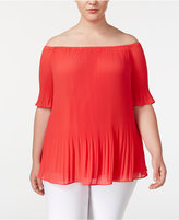 MICHAEL Michael Kors Size Pleated Off-The-Shoulder Top