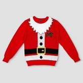 Well Worn Men's Big & Tall Ugly Holiday Santa with Beard Sweater - Red
