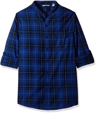 Michael Bastian Men's Long Sleeve Band Collar Plaid Woven Shirt