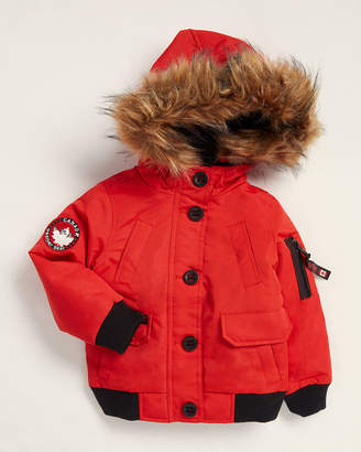 Canada Weather Gear Toddler Girls) Red Faux Fur-Trimmed Cinched Waist Parka