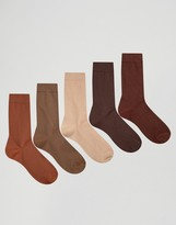 Asos Socks In Brown 5 Pack