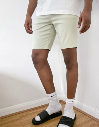 ASOS DESIGN skinny denim shorts in mint green