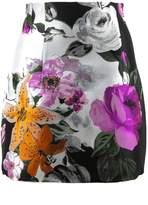 Off-White Black Mini Skirt Floral Print.