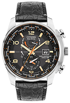 Citizen At9011-09e Chronograph World Time Date Leather Strap Watch, Black