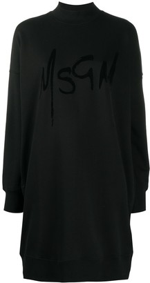 MSGM Logo Print Sweatshirt Dress