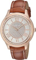 GUESS Women's U0840L2 Dressy Rose Gold-Tone Watch with White Dial , Crystal-Accented Bezel and Genuine Leather Strap Buckle