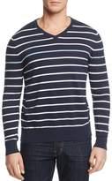 Ag Green Label Farrell Stripe Cotton Cashmere V-Neck Sweater