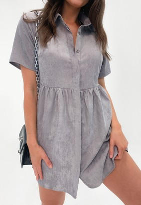Missguided Grey Cord Shirt Smock Dress