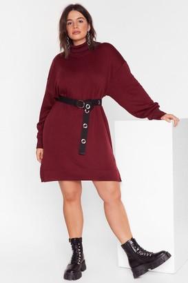 Nasty Gal Womens We're On a Roll Plus Turtleneck Sweatshirt Dress - red - 16