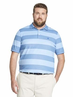Izod Men's Big and Tall Advantage Performance Short Sleeve Stripe Polo Shirt