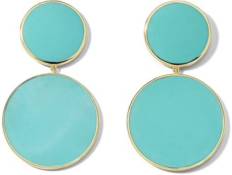 Ippolita 18kt yellow gold Polished Rock Candy large snowman turquoise earrings