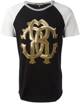 Roberto Cavalli two-tone metallic monogram logo T-shirt - men - Cotton - XS