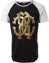 Roberto Cavalli two-tone metallic monogram logo T-shirt