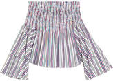 Caroline Constas Apollonia Off-the-shoulder Striped Shirred Cotton Top - White