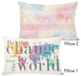 Ebern Designs Jimena Be the Change and Boho Ele 2 Piece Lumbar Pillow Set