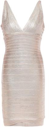 Herve Leger Metallic Coated Bandage Mini Dress