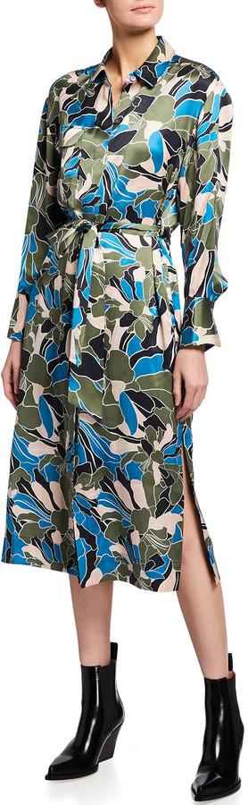 Equipment Mannon Floral Print Silk Midi Shirtdress