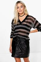 Boohoo Maya Open Knit Stripe V Neck Jumper