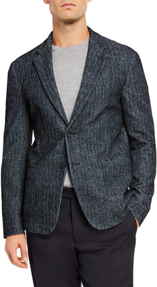 Giorgio Armani Men's Printed and Flocked Two-Button Jacket