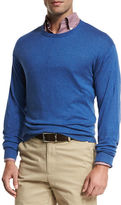 Peter Millar Crown Cotton/Silk Crewneck Sweater, Blue