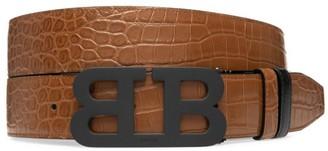 Bally Iconic Croc-Embossed Leather Belt