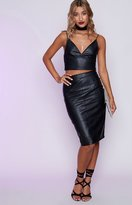 Beginning Boutique Ace Pencil Skirt Faux Black Leather